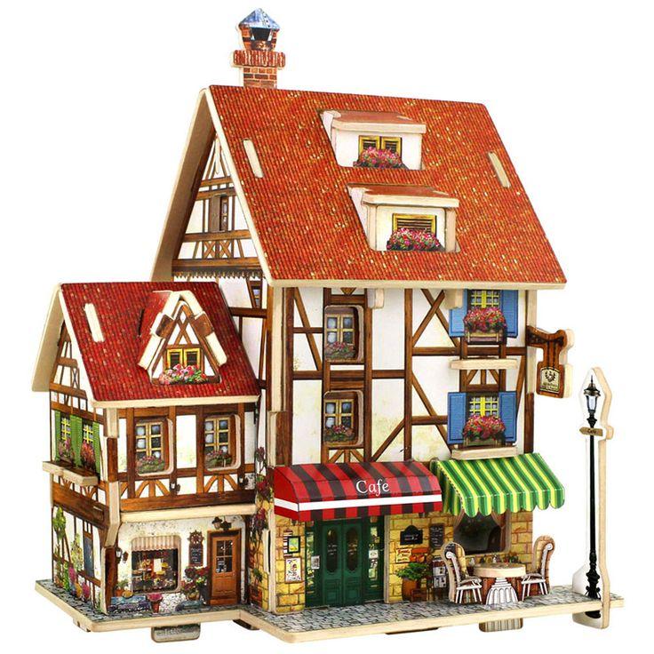 Diyの教育3dウッドハウスパズル子供木製玩具ハウスコーヒーロッジハウスホームパズルモデルハウス