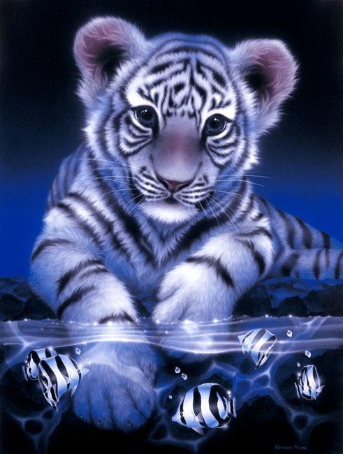 """White Baby Tiger""    76.2 × 101.0cm, Acrylic on canvas, 2003    (C)Kentaro Nishino"