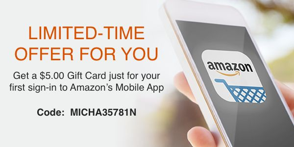 Use my referral link to get a $5 coupon at #Amazon for signing into the Amazon Mobile App the first time: https://amazon.com/mpr?referralcode=MICHA35781N&ref_=mpr_tr_ss