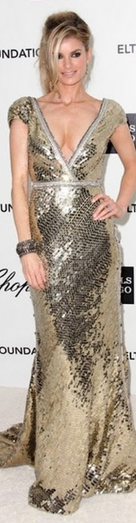 Marisa Miller wore a glorious gold sequined Joanna Johnson gown.