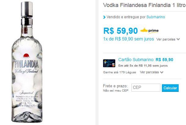 Vodka Finlandesa Finlandia 1 litro >