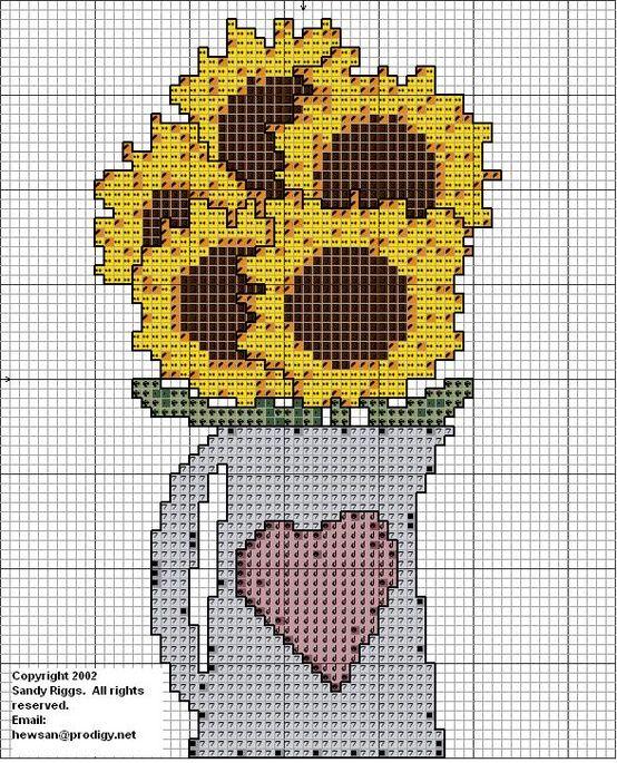 sunflowers in a pitcher cross stitch chart