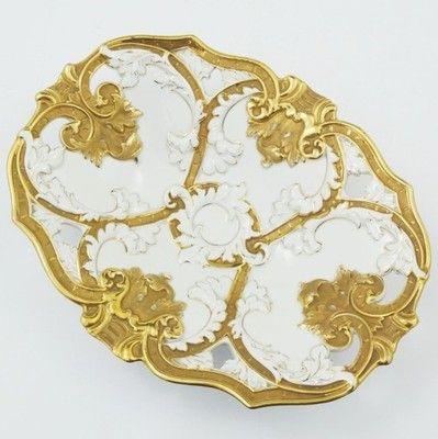 Miśnia Meissen duża złocona patera żardiniera XIX
