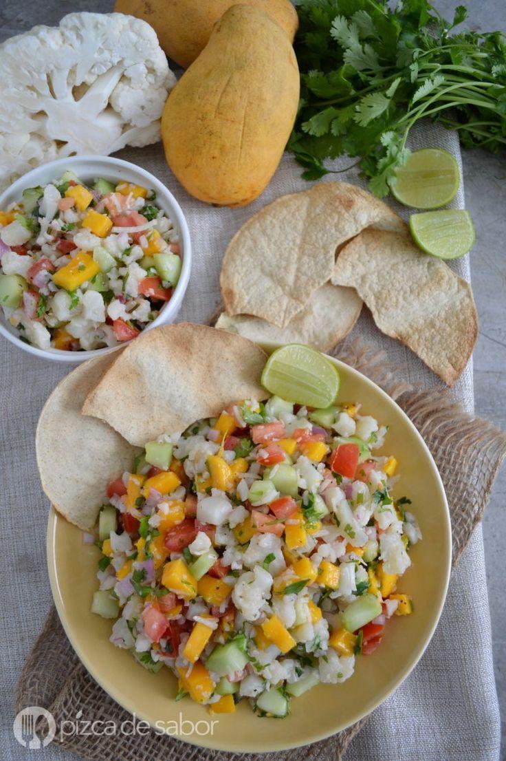 Ceviche tropical de coliflor - ceviche vegetariano y saludable www.pizcadesabor.com
