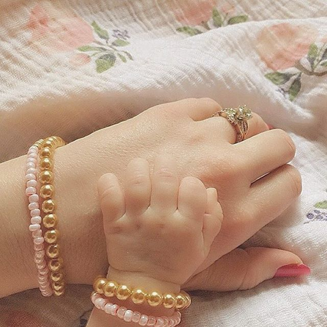 """Mommy and Me bracelets by June + Penny   """"This is why I love what I do, because precious moments like this are exactly why I started June + Penny.  Thank you from the bottom of my heart @lolalynn10, for sharing your Mommy + Me moment with us."""" #juneandpenny."""