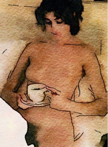 """RELAXIN CAP OF CAFÉ CON LECHE// En el Museo del Prado una mañana fui el primero en entrar cuando lo abrieron; me dirigí a la sección de goyas a admirarlos libres de turistas. Cuál no sería allí mi gran sorpresa cuando observé que la Maja Desnuda descansaba de pose por los siglos tomando un merecido desayuno antes de recibir a japoneses. Luego me dijo con ese desparpajo tan de chulapa si maja y si duquesa: """"…(Ver ➦)…"""
