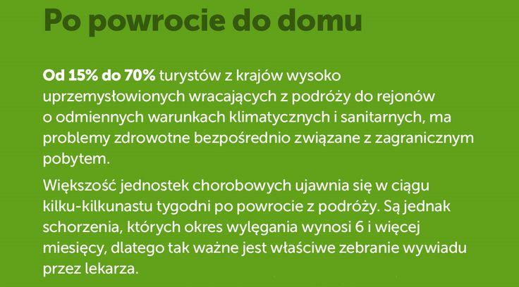 O czym pamiętać po powrocie do domu? Więcej tutaj: http://www.mfind.pl/infografiki/choroby-tropikalne-niezbednik-turysty-zobacz-infografike/