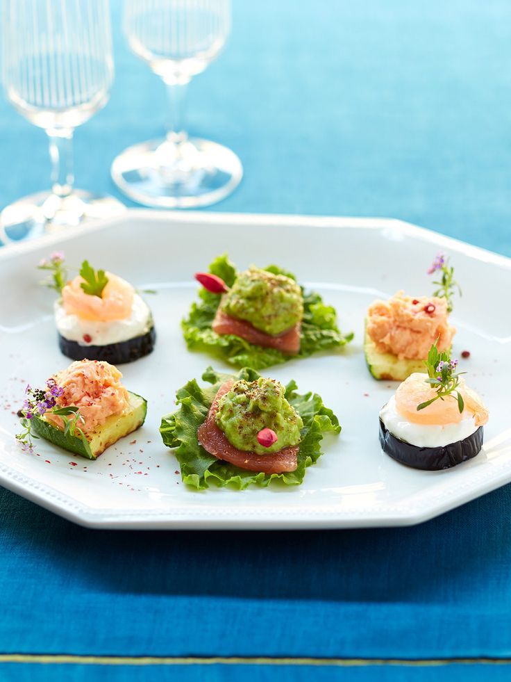 【ELLE a table】ベジタブルカナッペの盛り合わせ~ズッキーニ、なす、アボカドを使ってレシピ|エル・オンライン