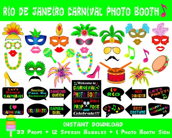 Rio Carnival Photo Booth Props –46 Pieces (33 props, 12 speech bubbles, 1 photo booth sign)-Brazilian Carnival Photo Props-Instant Download