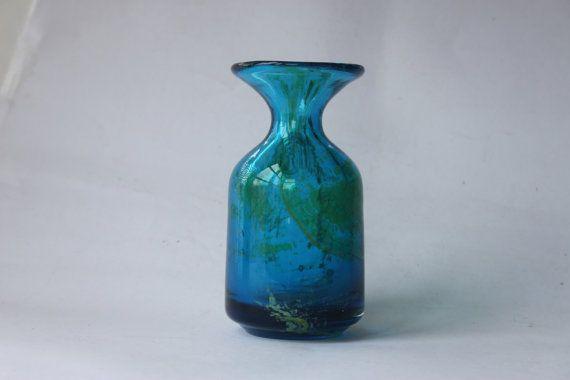 Mdina art glass vase carafe Mediterranean deep by MillCottageRetro, £30.00