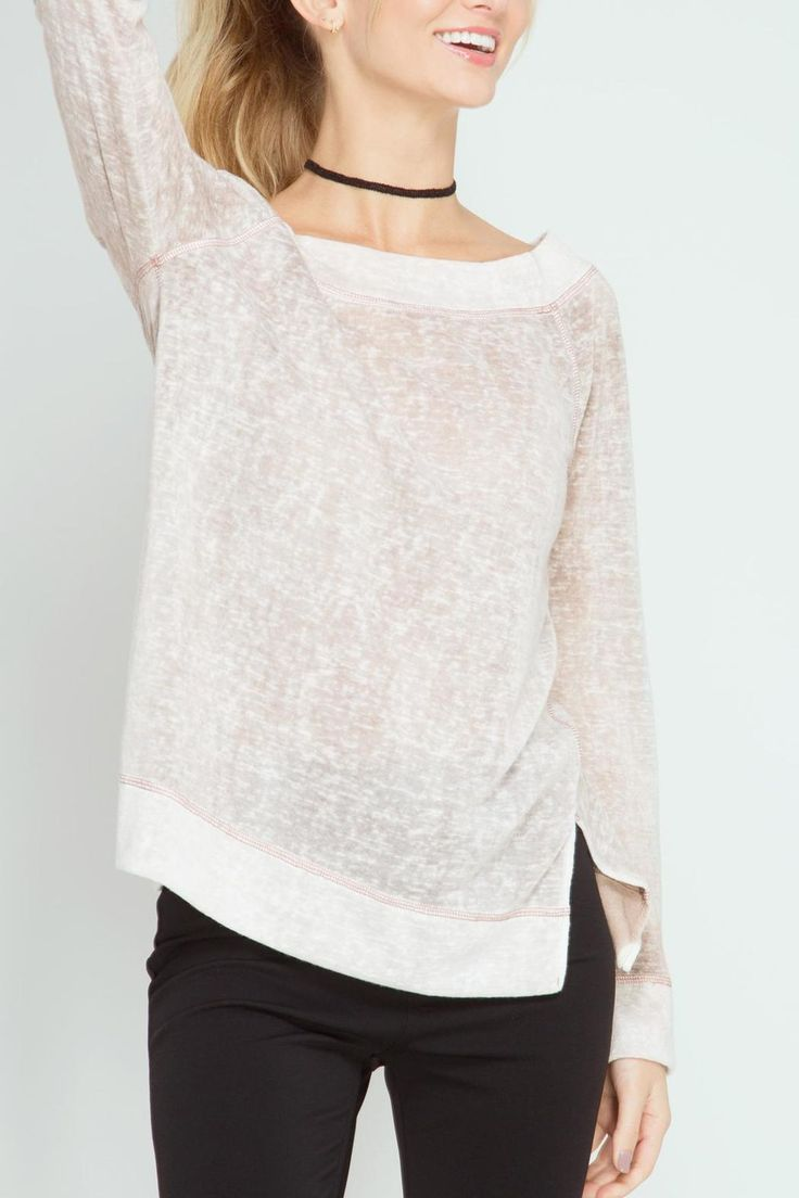 Mocha long sleeve off shoulder enzyme washed top with contrast hem detail.  This is athleisure at its best - wear with your favorite yoga pants leggings or denim!  We love ours paired with metallic gym shoes! Off-Shoulder Mocha Top by She  Sky. Clothing - Tops - Casual Ohio