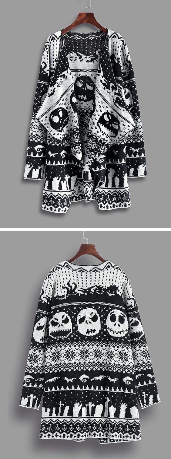 Halloween sweaters:Halloween Skull Knitting Tunic Cardigan