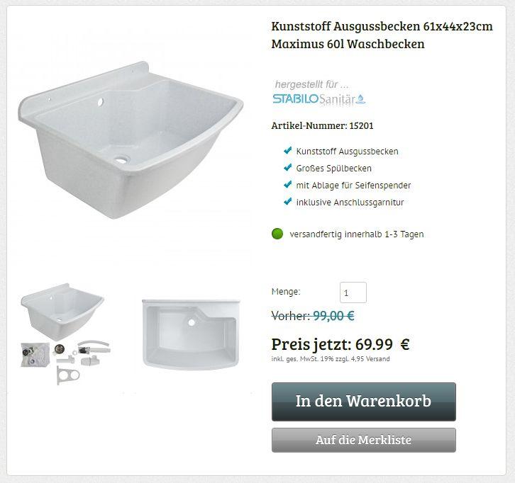 Stabilo Kunststoff Ausgussbecken 610 x 440 x 230 mm Maximus groß Waschbecken Spülbecken weißer Granit Haustiere  #ausgussbecken #waschbecken #spülbecken #haustiere