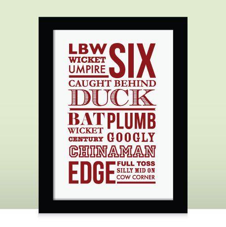 Cricket Typographic Sports Print Sports print by GarrardPrints, £10.50