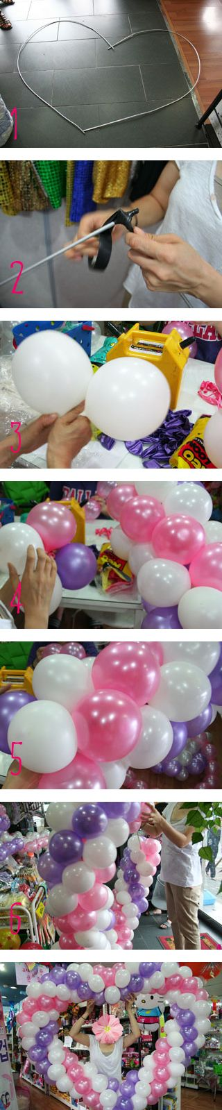 DIY Love heart balloon decoration