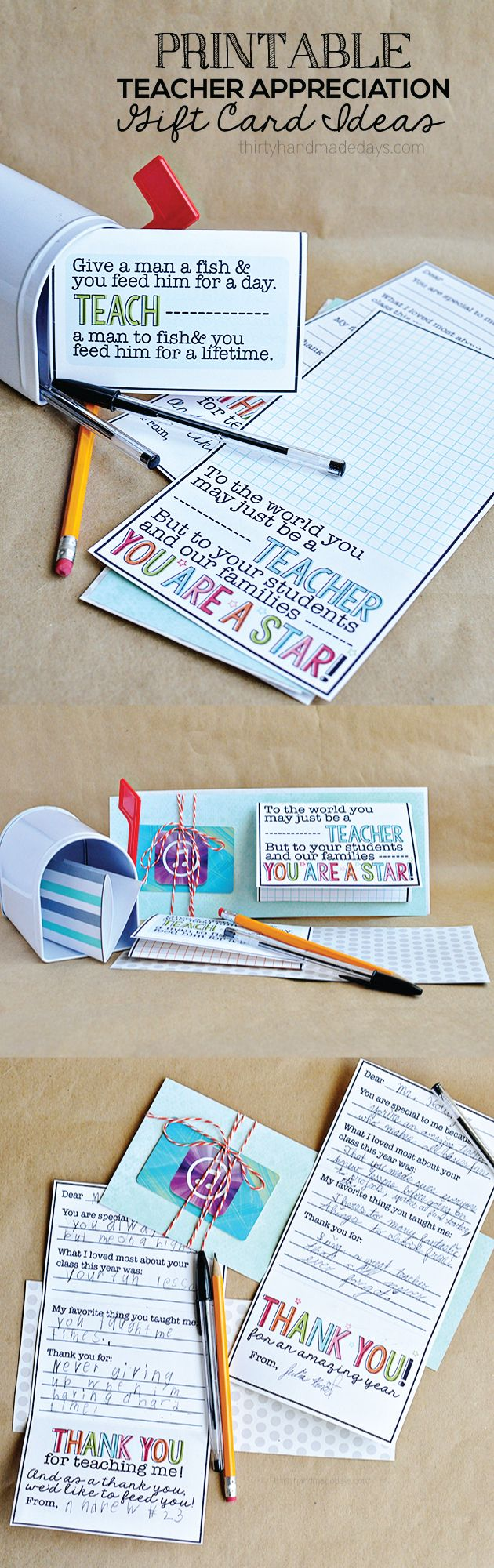 Teacher Appreciation Gift Idea- print this gift card holder with thank you card inside for the perfect present!