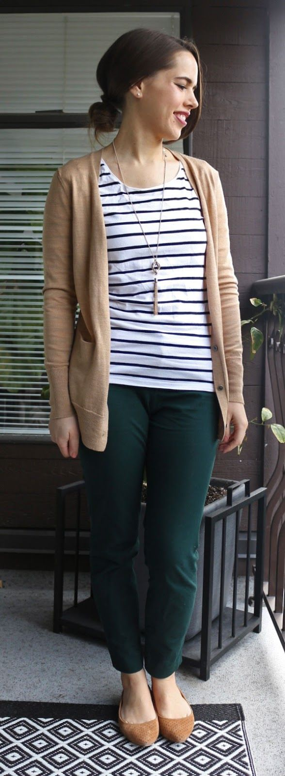Jules in Flats - Striped Shirt, Camel Cardigan, Ankle Pants