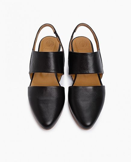 coclico pink flats in black leather.