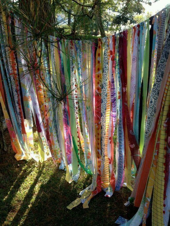 Fabric strip curtain.  Boho