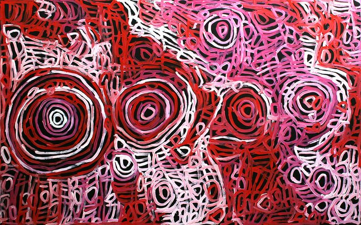 THE ARTERY Aboriginal Art - 'Body Paint for Women's Ceremony' is derived from the traditional practice of Aboriginal women 'Painting – Up' their bodies for ceremony. These designs are painted onto the chest, breasts, arms and thighs. Elongated u-shaped motifs with horizontal lines between are representative of the designs painted on the breast and upper body.  Concentric circles mark the Ceremonial site or where her Totem (Bush Melon) is located. Charmaine's style and application is very…