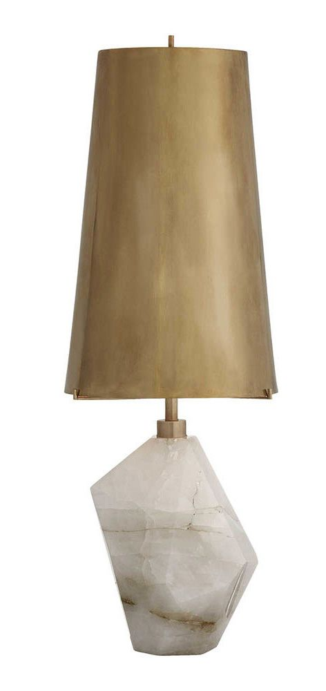 KELLY WEARSTLER | HALCYON ACCENT TABLE LAMP. Composed of natural quartz stone and brass shade