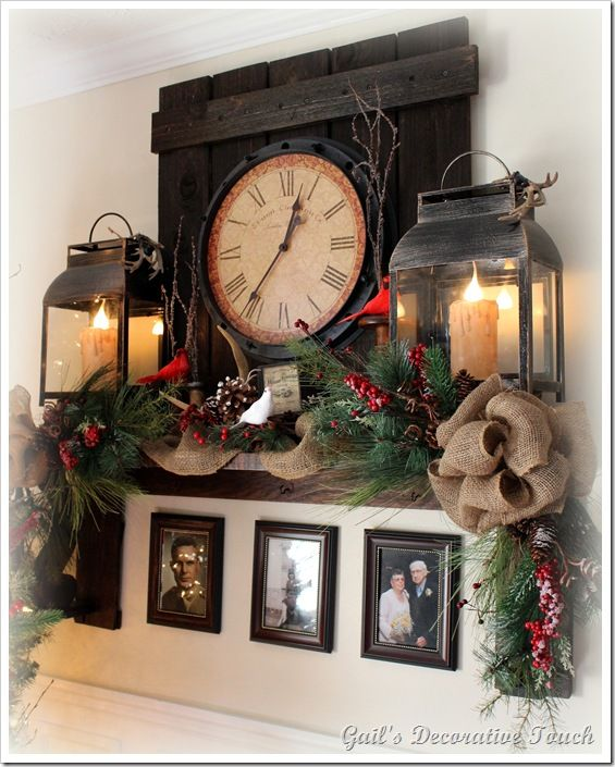 Love The Clock Idea For All Year And Photos Below Mantel Christmas