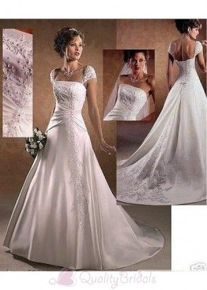 eautiful Elegant Satin all Gown Square Wedding Dress In Great Handwork W1855