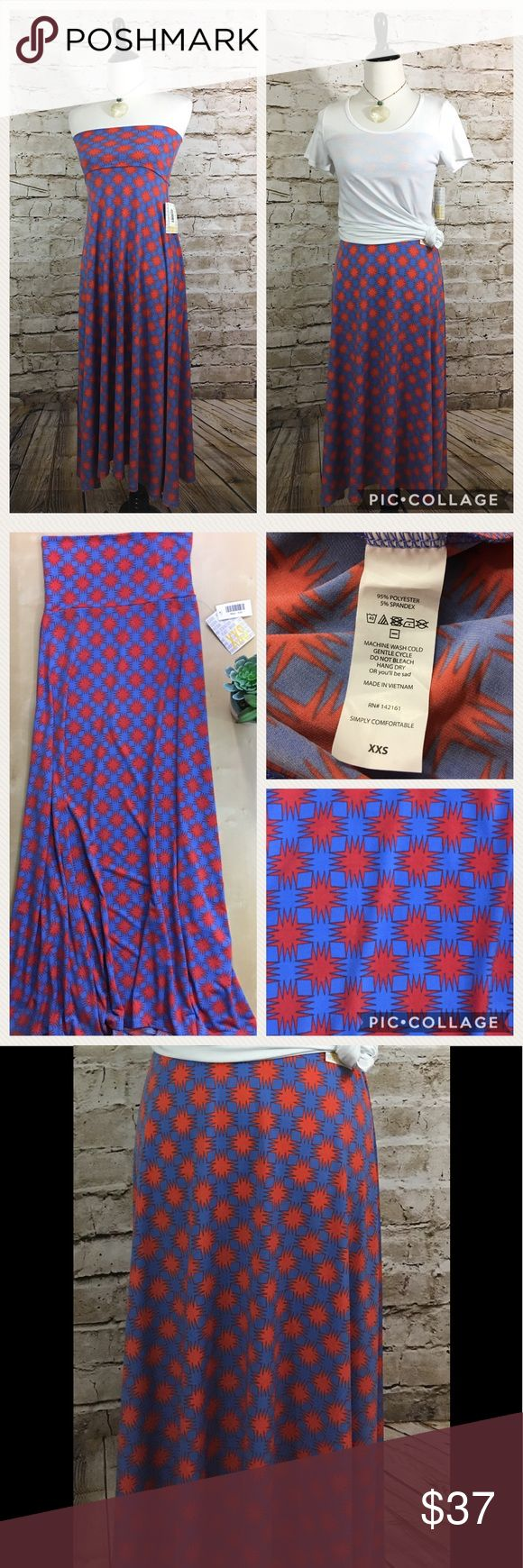 "LuLaRoe XXS Maxi Skirt NWT No flaws, periwinkle and orange hashtag print. Floor length flowing skirt with wide waist band. Easily converts to tube top style dress. Great for layering. Transitions effortlessly from day to night.  Size XXS fits 00-0 Waist: 13"" Length: 41"" Please review all photos thoroughly  Feel free to ask questions  🚫trades 🚫modeling requests  👍🏻reasonable offers welcome! LuLaRoe Skirts Maxi"