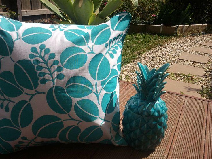 My teal handscreen printed cushion, a bit tropical don't you think, head to www.shakiraaz.com.au
