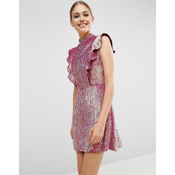 ASOS Sequin Frill Mini Dress ($145) ❤ liked on Polyvore featuring dresses, pink, pink sequin cocktail dress, high neck dress, sequin mini dress, ruffle dress and sequin dresses