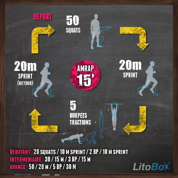 Exercices de CrossFit sans matériel en 15 minutes ! Squats sautés, sprint et burpees tractions.