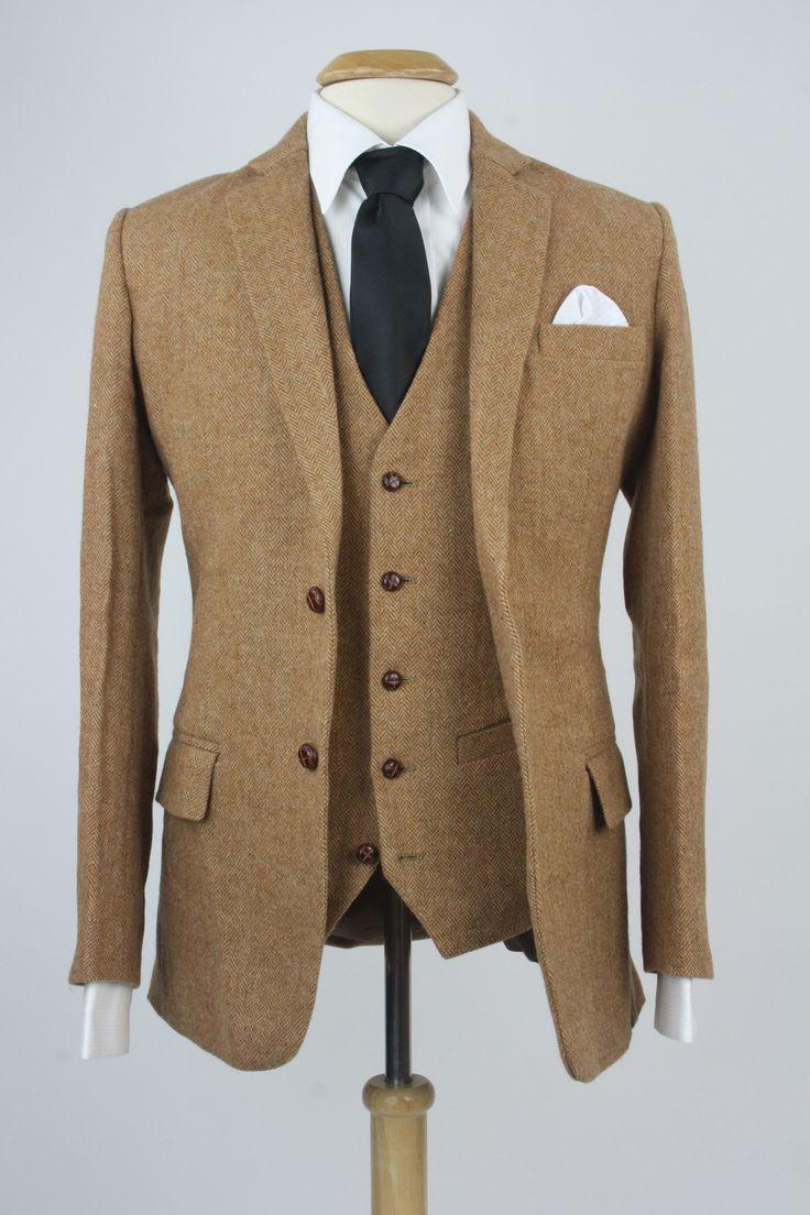Custom Brown Herringbone Tweed 3 Piece Suit Monkey Suits