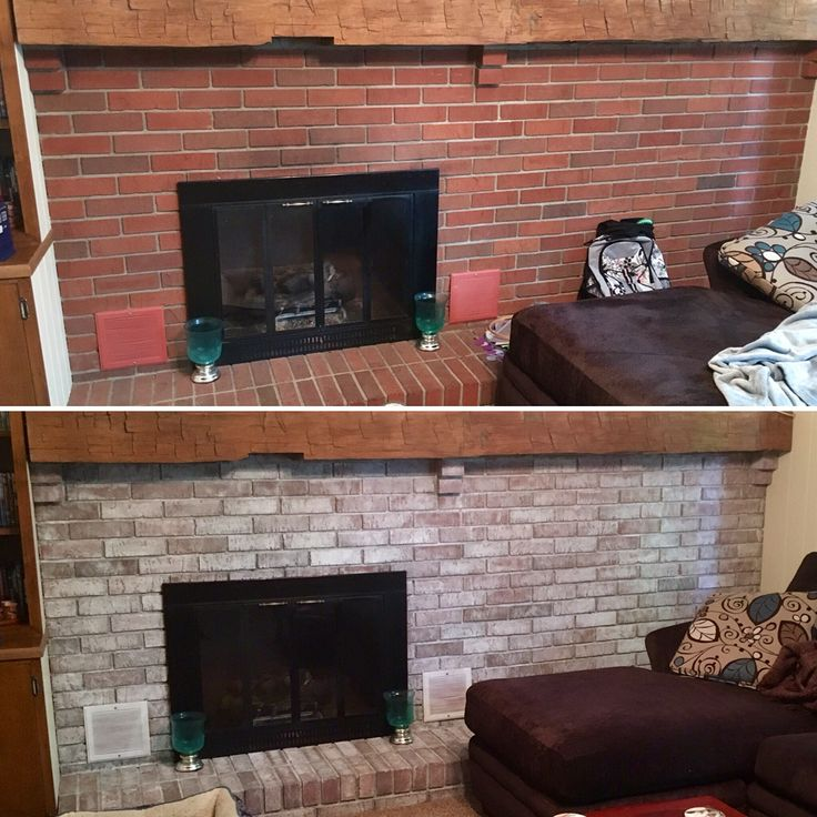 White washed brick fireplace. Before and after. Super easy instructions. 50/50 white paint and water. Paint on and dab with a rag.  1 coat and a couple touched up spots.