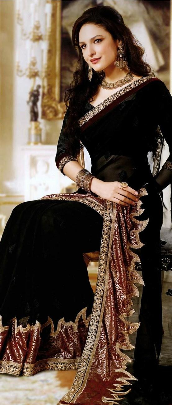 Black #Georgette #Designer #Saree Check out this page now :-http://www.ethnicwholesaler.com/sarees-saris