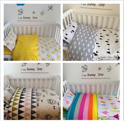 新しい到着したホットinsベビーベッドベッドリネン3ピースベビー寝具セットは枕カバー+ベッドシート+布団カバーなしで充填