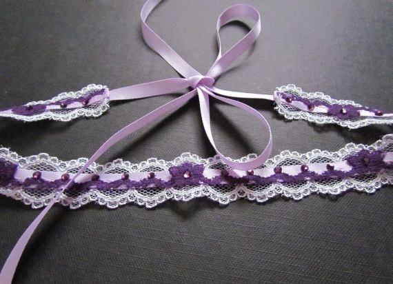 Vampire Diaries Elena Gilbert Inspired Lace Headband - white lace headband with lilac satin ribbon, dark purple lace, and purple rhinestones.