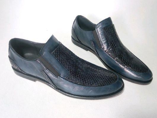 """Обувь ручной работы. Ярмарка Мастеров - ручная работа. Купить Мужские лоферы   """"синий питон"""". Handmade. Shoes, handmade"""