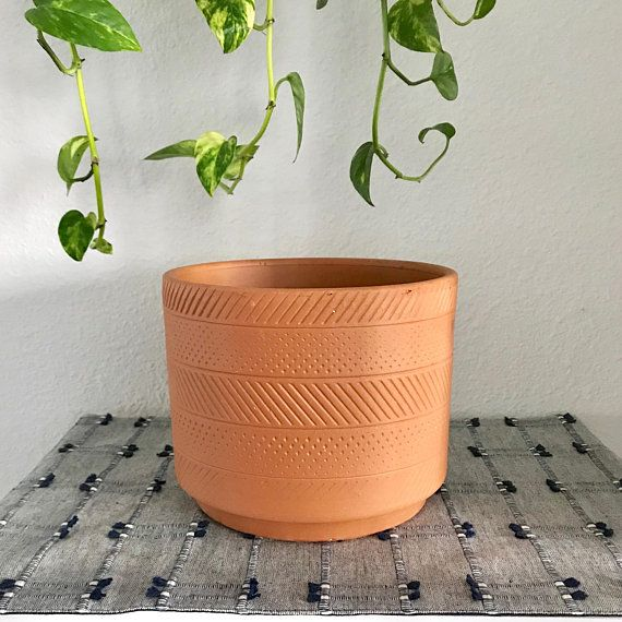 8 Deco Cylinder Clay Planter Pot With Drainage Hole Modern Planter Office Decor Houseplants The Modern Hous Clay Planters Modern Planters Planter Pots