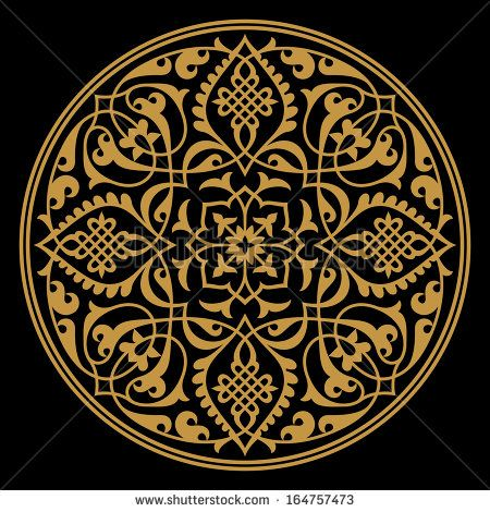Arabic Floral Ornament. Ocher on black. Traditional Islamic morocco design.