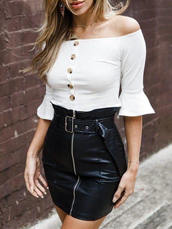 Mini Saia de Couro - Ref.335 | formatura in 2019 | Mini skirts, Denim pencil skirt, Skirt fashion