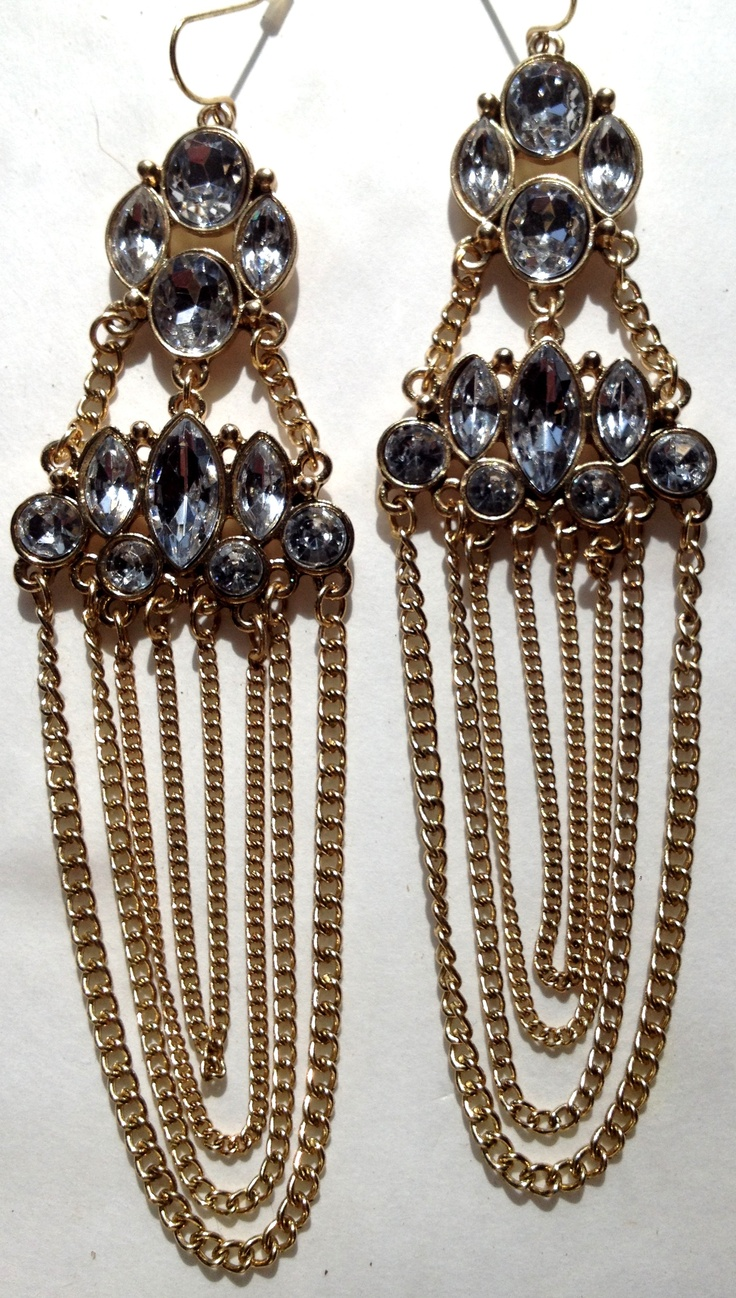 A glamorous addition to your ears with delicate chains cascading from crystal stone clusters