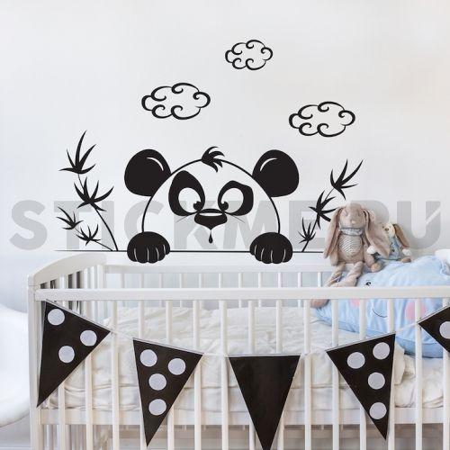 Детские наклейки на стены. Удивлённая панда