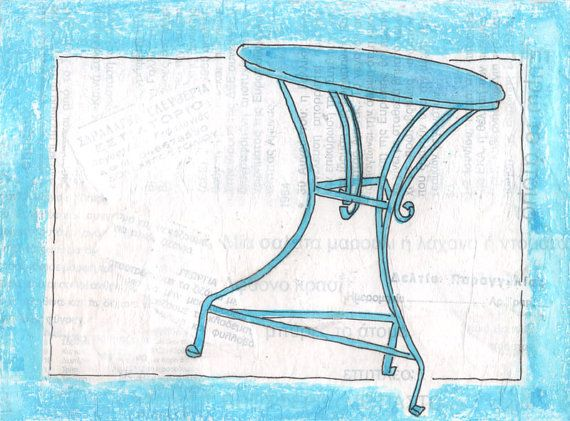 SIMPLY GREEK  Turquoise Cafe Table  Original by Artistswindow