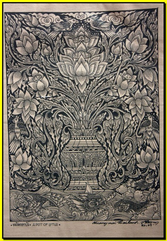 Thai traditional art of A Pot Of Lotus by silkscreen printing on cotton via Etsy