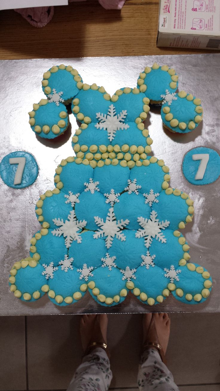 Indi Turned 7 and this is her Frozen themed cupcake dress to take to school