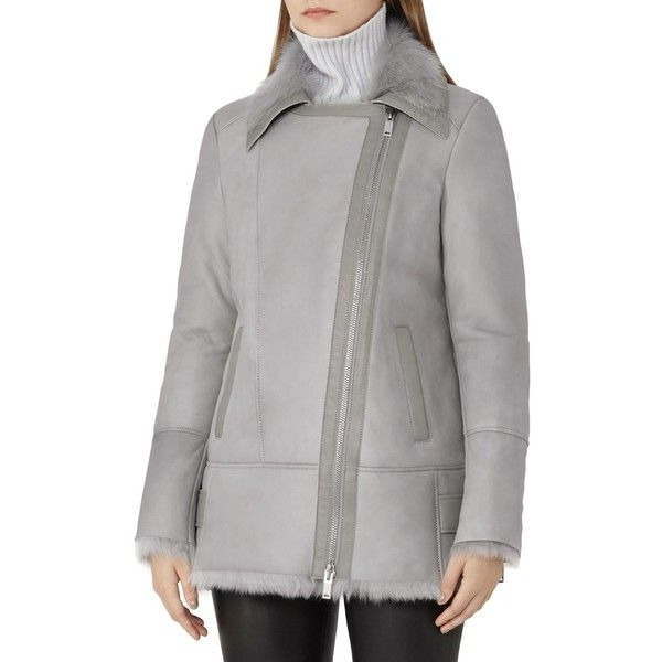 Reiss Nicole Shearling Jacket ($1,790) ❤ liked on Polyvore featuring outerwear, jackets, grey, reiss jacket, grey jacket, reiss, collar jacket and shearling jacket