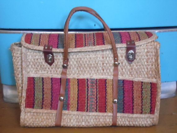 Straw Bag/Boho/Beach by OldSteamerTrunkJunk on Etsy