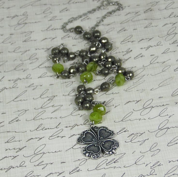 St Patrick's Silver Shamrock Necklace with Green Hurricane Beads and Iron Pyrite | eBay