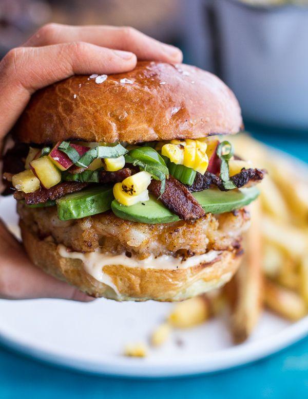 Lobster Burgers w/Browned Butter Lemon Aioli + Basil Corn Salsa, Bacon 'n' Avocado. - Half Baked Harvest