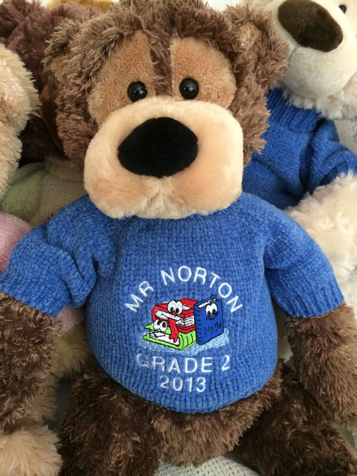 Save this ideas away for a teacher gift this year.  Personalise your teachers teddy bear with some special words and the year.  Give it yourself or collect and give the teacher bear from the whole class.